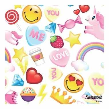 20x emoticon candy thema servetten 33 x 33 cm