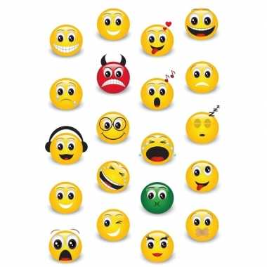 20x emoticon/emoticons stickers met 3d effect met zacht kunststof