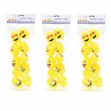 20x emoticon paaseieren geel om te vullen 6 cm