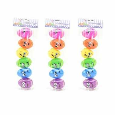 24x stuks emoticon paaseieren regenboog om te vullen 8 cm