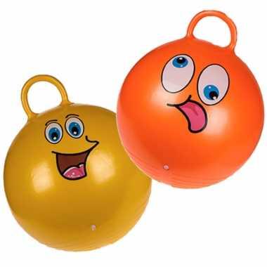 2x stuks skippyballen emoticon voor kinderen goud/groen 45 cm
