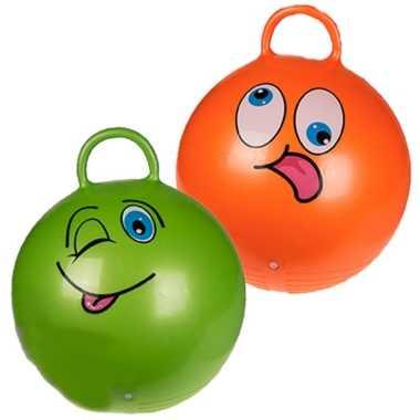 2x stuks skippyballen emoticon voor kinderen oranje/groen 45 cm