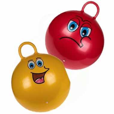 2x stuks skippyballen emoticon voor kinderen rood/goud 45 cm