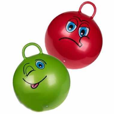 2x stuks skippyballen emoticon voor kinderen rood/groen 45 cm