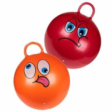 2x stuks skippyballen emoticon voor kinderen rood/oranje 45 cm