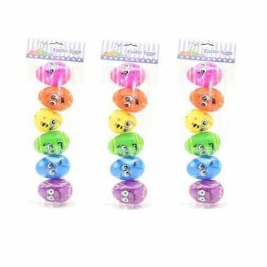 30x stuks emoticon paaseieren regenboog om te vullen 8 cm