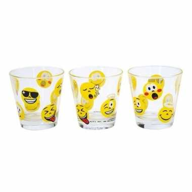 3x emoticon / emoticon drinkglazen 310 ml