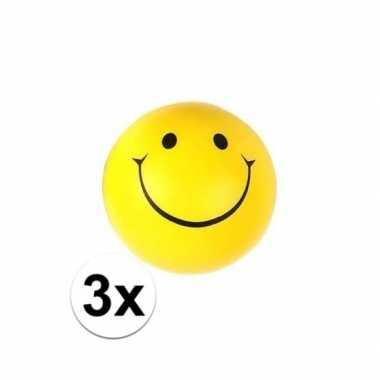 3x emoticon stressbal 6 cm