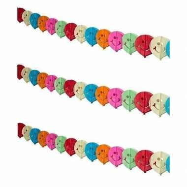 3x gekleurde feest slingers met emoticons 4 meter