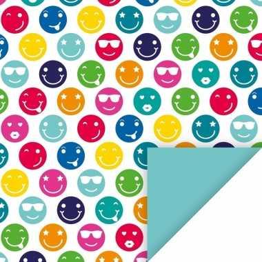 3x inpakpapier met gekleurde emoticons 200 x 70 cm op rol