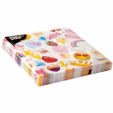 40x emoticon candy thema servetten 33 x 33 cm