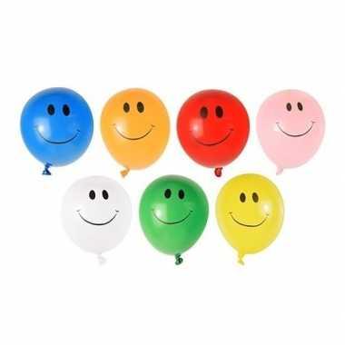40x emoticon waterballonnen gekleurd
