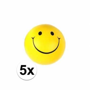 5x emoticon stressbal 6 cm