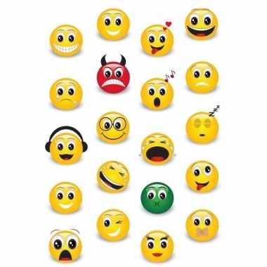 60x emoticon/emoticons stickers met 3d effect met zacht kunststof