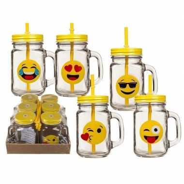 6x glazen emotion drinkbekers/drinkpotjes met rietje 450 ml