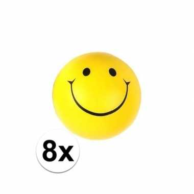 8x emoticon stressbal 6 cm
