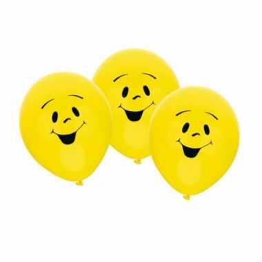 Ballonnen emoticon thema 6 stuks