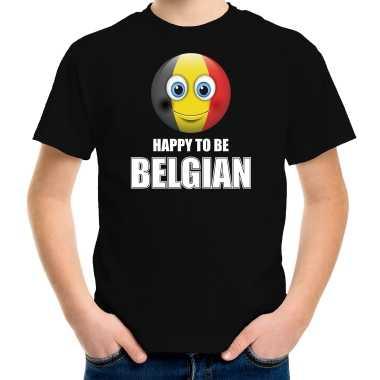 Belgie emoticon happy to be belgian landen t shirt zwart kinderen
