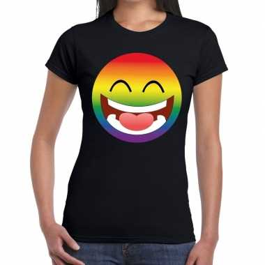 Big emoticon/emoticon regenboog gaypride t shirt zwart dames