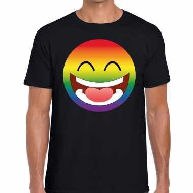 Big emoticon/emoticon regenboog gaypride t shirt zwart heren