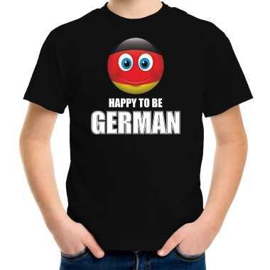 Duitsland emoticon happy to be german landen t shirt zwart kinderen
