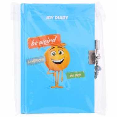 Emoji dagboek met slotje blauw