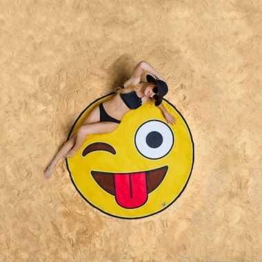 Emoji knipoog strandlaken 150 cm