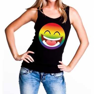 Emoticon emoji regenboog gay pride tanktop zwart dames