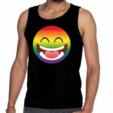 Emoticon/emoji regenboog gay pride tanktop zwart heren