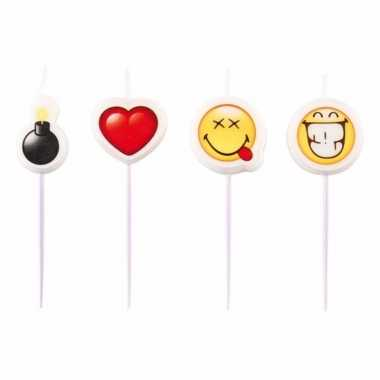 Emoticon emoticons kaarsjes 4 stuks