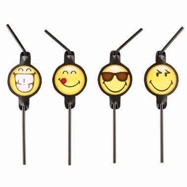 Emoticon emoticons rietjes 8 stuks