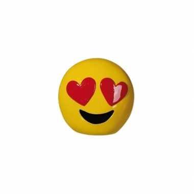 Emoticon hartjes ogen spaarpot 13 cm