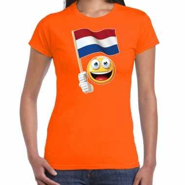 Emoticon holland / nederland landen t shirt oranje voor dames