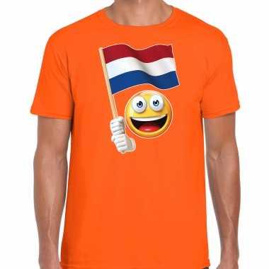 Emoticon holland / nederland landen t shirt oranje voor heren