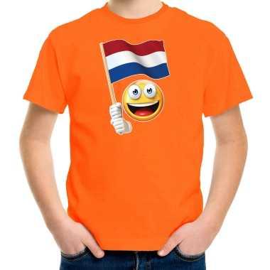 Emoticon holland / nederland landen t shirt oranje voor kinderen