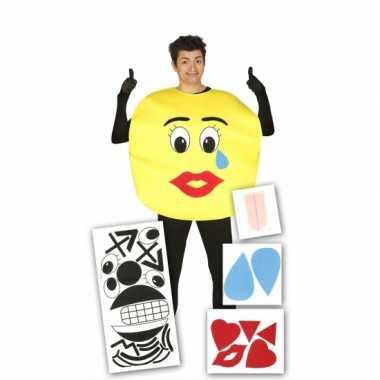 Emoticon kostuum met stickers voor volwassenen
