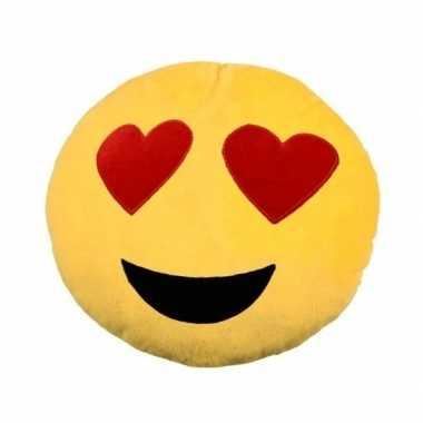 Emoticon kussen emoticon met hartjes ogen 30 cm