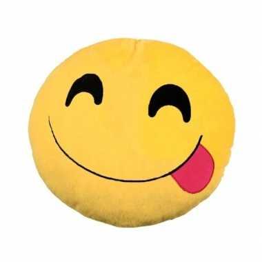 Emoticon kussen emoticon met tong 30 cm