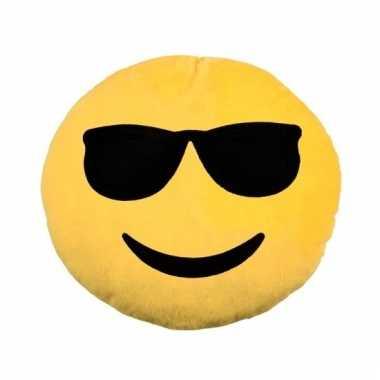 Emoticon kussen emoticon met zonnebril 30 cm