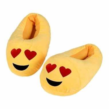 Emoticon sloffen hartjesogen voor kinderen