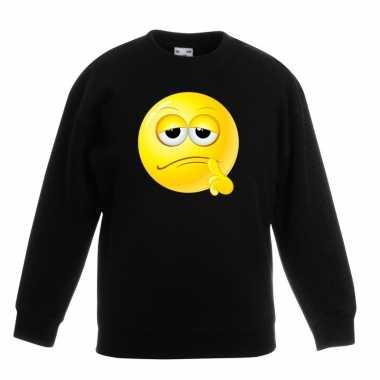 Emoticon sweater bedenkelijk zwart kinderen