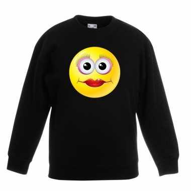 Emoticon sweater diva zwart kinderen