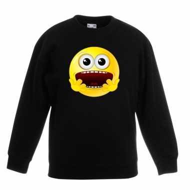 Emoticon sweater geschrokken zwart kinderen