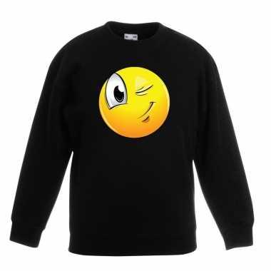 Emoticon sweater knipoog zwart kinderen