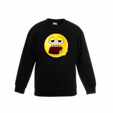 Emoticon sweater moe zwart kinderen
