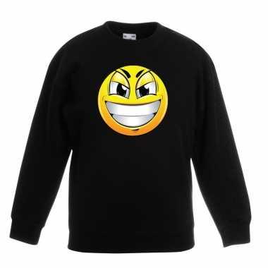 Emoticon sweater ondeugend zwart kinderen