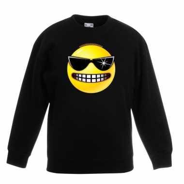 Emoticon sweater stoer zwart kinderen