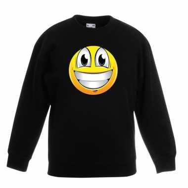 Emoticon sweater super vrolijk zwart kinderen