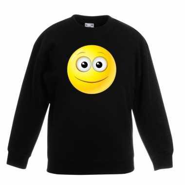 Emoticon sweater vrolijk zwart kinderen