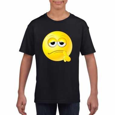 Emoticon t shirt bedenkelijk zwart kinderen